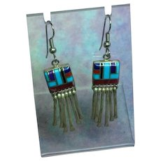 Native American Indian Sterling Silver Multi Stone Inlay Dangle Vintage Pierced Earrings