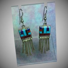 Native American Indian Sterling Silver Multi Stone Inlay Dangle Pierced Earrings