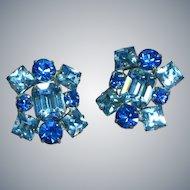 Gorgeous Icy Blue Vintage Rhinestone Rhodium Plate Clip Earrings