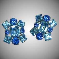 Gorgeous Icy Blue Vintage Rhinestone Rhodium Plate Clip Earrings