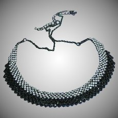 Vintage Black and White Rhinestone Japanned Necklace