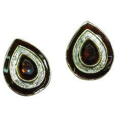 Regal Vintage Enamel  Coppery Red Rhinestone Clip Earrings