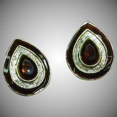 Regal Vintage Enamel  Coppery Red Rhinestone Clip Earrings