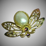 Vintage AVON Large Butterfly Pearl Rhinestone Pin Brooch