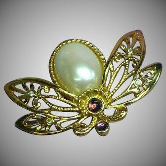 Vintage AVON Large Butterfly Pearl Rhinestone Pin Brooch