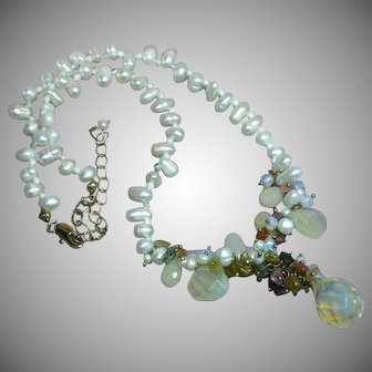 Spectacular  Gemstone and Cultured Pearl Necklace