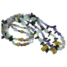 Magnificent 2 Strand Carved and Faceted Gemstone All Semi-Precious  Necklace