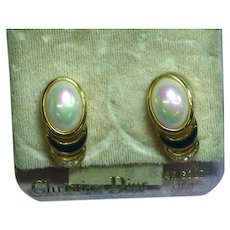 Christian Dior  Faux Pearl Gold Tone Mint on Card Old Stock Pierced Earrings.