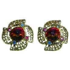 Watermelon Rivoli  Gold Tone Rhinestone Clip Earrings