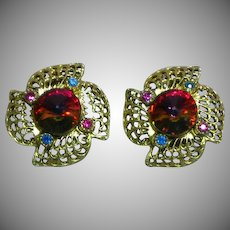 Watermelon Rivoli  Gold Tone Rhinestone Clip Earrings