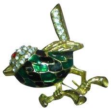 Vintage Green & Black Enamel Rhinestones Bird Figural Brooch Pin