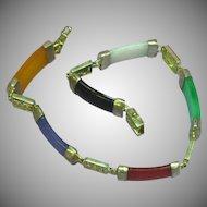 Vintage 14K White Gold Multi Color Jade Bracelet