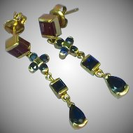 14K Yellow Gold Sapphire Ruby Dangle Post Pierced Earrings
