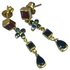 14K Yellow Gold Sapphire Ruby Dangle Post Pierced Earrings
