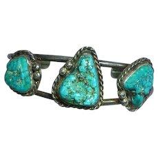 Signed Vintage Navajo Sterling Silver & Turquoise Cuff Bracelet