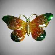 Beautiful Vintage Luminescent Enamel Butterfly Pin Brooch