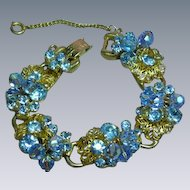 Juliana D & E Blue Layered Rhinestone Dangling Crystals  Raised  Vintage DeLizza and Elster Designer  Bracelet