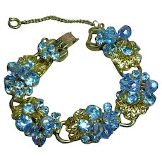 Juliana D & E Blue Layered Rhinestone Dangling Crystals  Raised Flower Accents Vintage DeLizza and Elster Designer Jewelry Bracelet