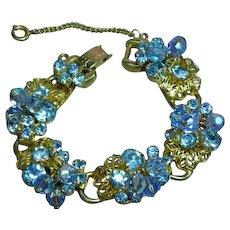Juliana D & E Blue Layered Rhinestone Dangling Crystals  Raised  Vintage DeLizza and Elster Designer  Bracelet