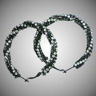 Fabulous Large  Clear Twisted Rhinestones Japanned Hoop Pierced Earrings