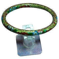 Vintage Chinese Champlevé Cloisonne Thin Bangle Stacking Bracelet