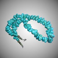 Turquoise Dyed Howlite Nugget Sterling Silver Necklace