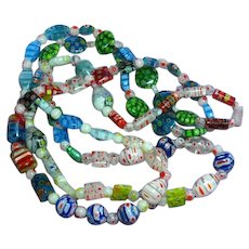 Candy Cane Colorful Cane Glass Millefiori Beads Long Necklace