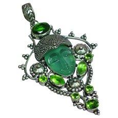 Sterling Silver Marked Moon Goddess Face Gemstone Pendant