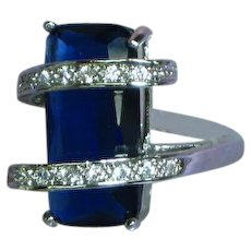 Vintage Sterling Silver Rhodium Plate Sapphire Blue Stone CZ Ring
