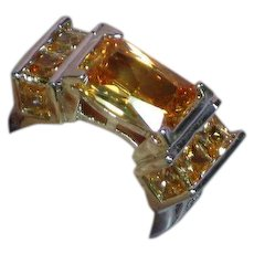 Vintage Sterling Silver Citrine Color Stones CZ  Ring