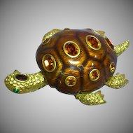 Joan Rivers Signed Enamel Large Statement Turtle Designer Brooch Pin