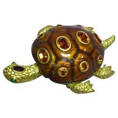 Joan Rivers Signed Designer Enamel Large Statement Turtle  Brooch Pin