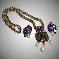 Alice Caviness Signed Watermelon Rivoli Rhinestone Flower Spray Necklace Earrings Demi Parure