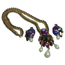 Alice Caviness Signed Watermelon Rivoli Rhinestone Flower Spray Necklace Earrings Demi Parure
