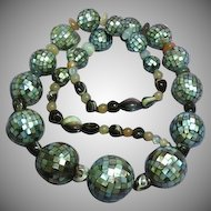 Abalone Shell Mosaic Balls Agate Sterling Silver Necklace