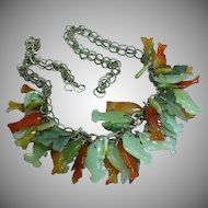 Jade Carved Fish Leaves Charms Dangles Sterling Silver Necklace