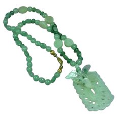 Jade Carved Natural Green Jadeite Bead Pendant Necklace