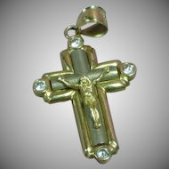 14k Gold Two-Tone Cross Diamond Necklace Pendant