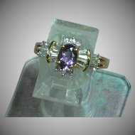 Vintage 14K Yellow Gold Amethyst CZs Cluster Ring