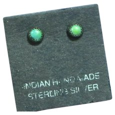 Native American Indian Zuni Dot Snake Eye Turquoise Sterling Silver Pierced Earrings