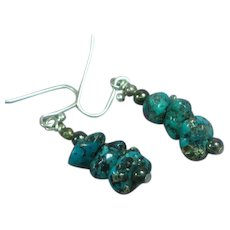 Gemstones Natural Bisbee Turquoise Nugget Sterling Silver Pierced Dangle Drop Earrings