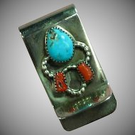 Turquoise Coral Mixed Metal Mens Money Clip