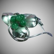 Fabulous Vintage Japan Silver Jade Brooch Pin