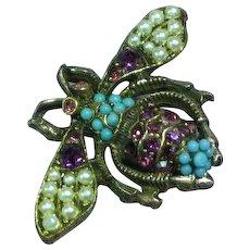 Vintage Honey Bee Antiqued Metal Seed Pearl Pin Brooch