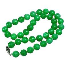 Vintage Peking Glass Green Bead Necklace