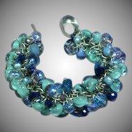 Swarovski Crystals Blue Glass Sparkling Faceted Beads Charm Bracelet