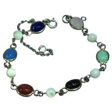 Vintage Colorful Carved Gemstone Egyptian Revival Scarab Sterling Silver Bracelet
