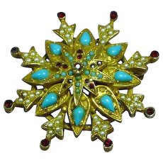 Art Signed Victorian Revival Seed Pearl Turquoise Art Glass Pin Brooch