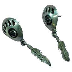 Vintage Sterling Navajo Bear Paw Onyx Shadow Box Pierced Earrings