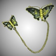 Vintage Japanese Shakudo Amita Damascene Butterflies Double Pin Brooch